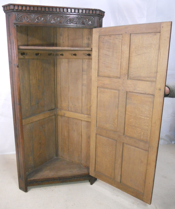 Antique Style Carved Oak Corner Wardrobe Sold